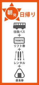 朝発日帰り 往復バス+リフト券+レンタル+昼食券