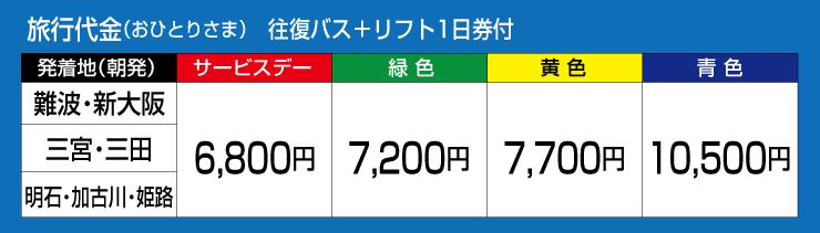 旅行代金(おひとりさま)往復バス+リフト1日券