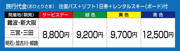 旅行代金(おひとりさま)往復バス+リフト1日券+レンタル付