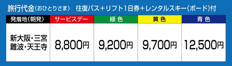 旅行代金 往復バス+リフト1日券+レンタルスキー(ボード)付