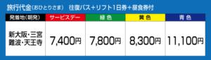 旅行代金 往復バス+リフト1日券+昼食券