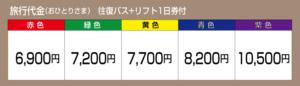 旅行代金 往復バス+リフト1日付