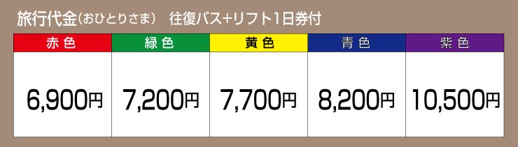 旅行代金 往復バス+リフト1日券付
